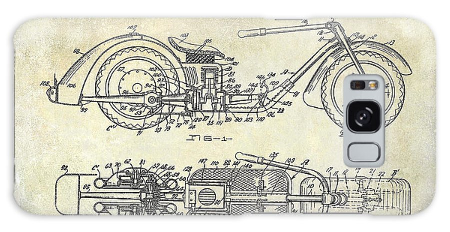 Harley Davidson Patent Drawing Galaxy S8 Case featuring the photograph 1939 Motorcycle Patent Drawing by Jon Neidert