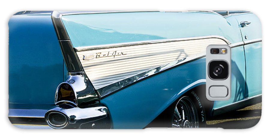 Transportation Galaxy S8 Case featuring the photograph 1957 Chevy Bel Air Blue Rear Quarter by Dennis Coates