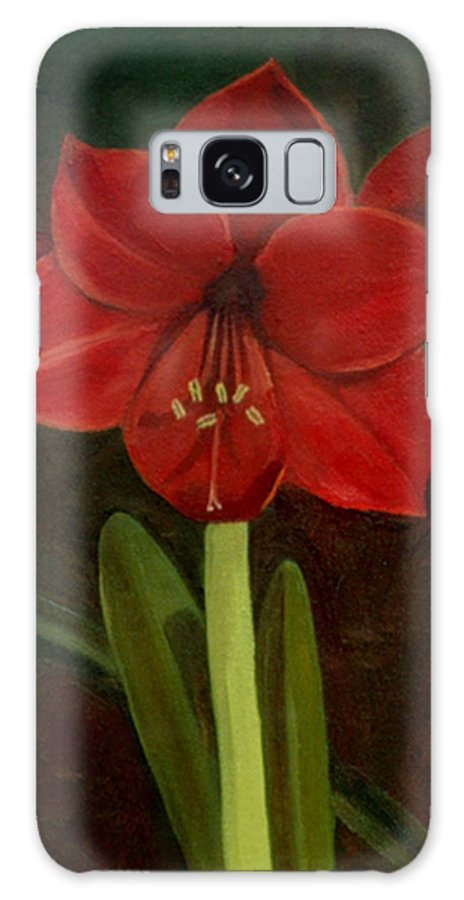 Amaryllis Galaxy S8 Case featuring the painting Amaryllis by Nancy Griswold