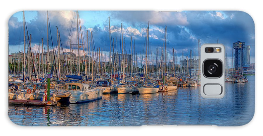 Harbor Galaxy S8 Case featuring the photograph Boats In The Harbor Of Barcelona by Michal Bednarek