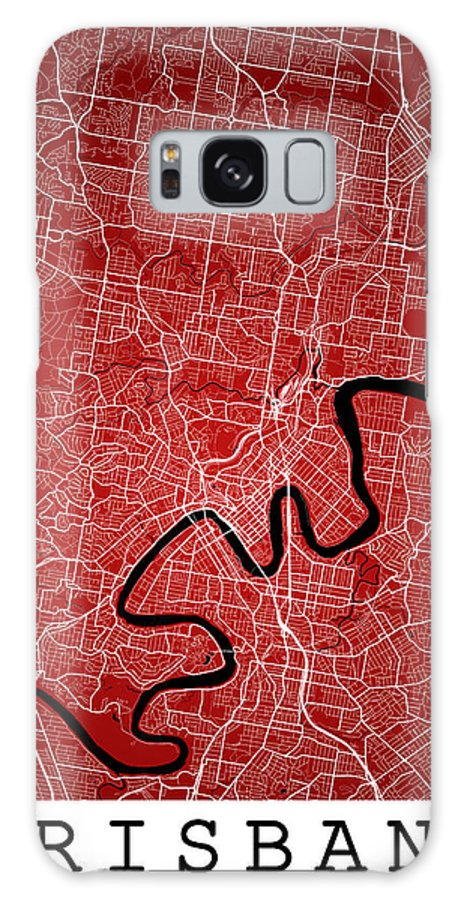 Road Map Galaxy S8 Case featuring the digital art Brisbane Street Map - Brisbane Australia Road Map Art On Colored by Jurq Studio