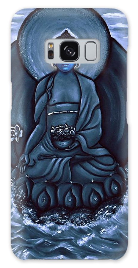 Medicine Buddha Galaxy S8 Case featuring the painting Buddha In Black And White by Carmen Cordova