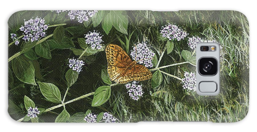 Butterfly Galaxy S8 Case featuring the painting Butterfly On Oregano by Lucinda V VanVleck