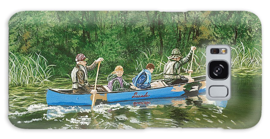 Canoe Galaxy S8 Case featuring the painting Canoeing With Grandpa by Lucinda V VanVleck