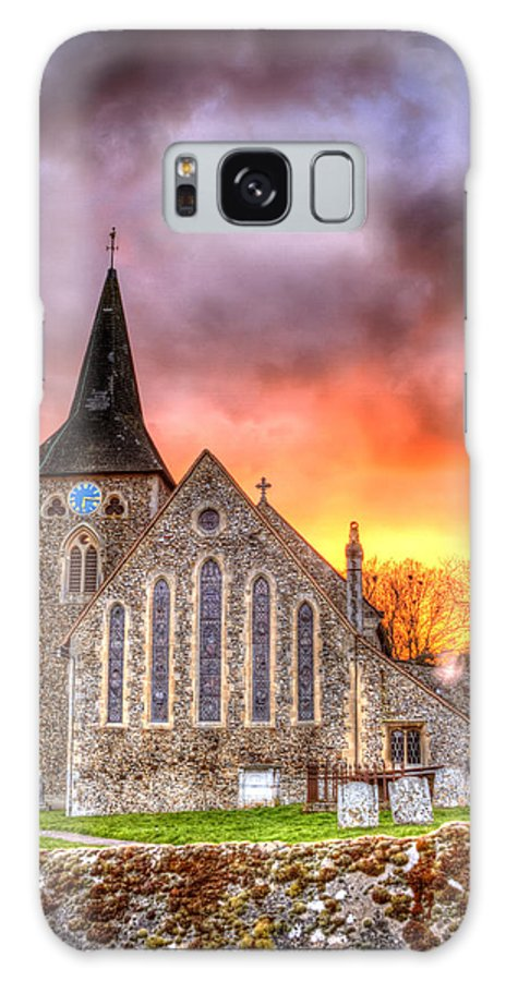 Architecture Galaxy S8 Case featuring the photograph Church And Graveyard At Dusk by Fizzy Image