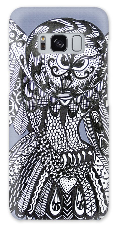 Owls Galaxy S8 Case featuring the drawing Close Up Owl Blue by Karen Larter