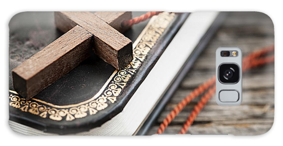 Cross Galaxy S8 Case featuring the photograph Cross On Bible by Elena Elisseeva