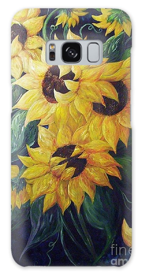 Sunflower Galaxy S8 Case featuring the painting Dancing Sunflowers by Eloise Schneider Mote