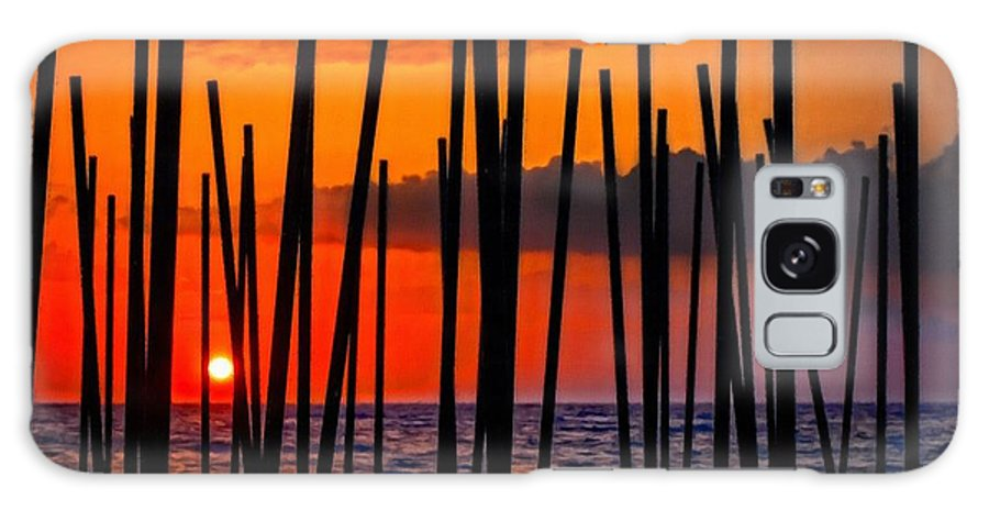 Painting Galaxy S8 Case featuring the digital art Digital Painting Of Looking Through Beach Umbrella Poles At Sunset by Ken Biggs
