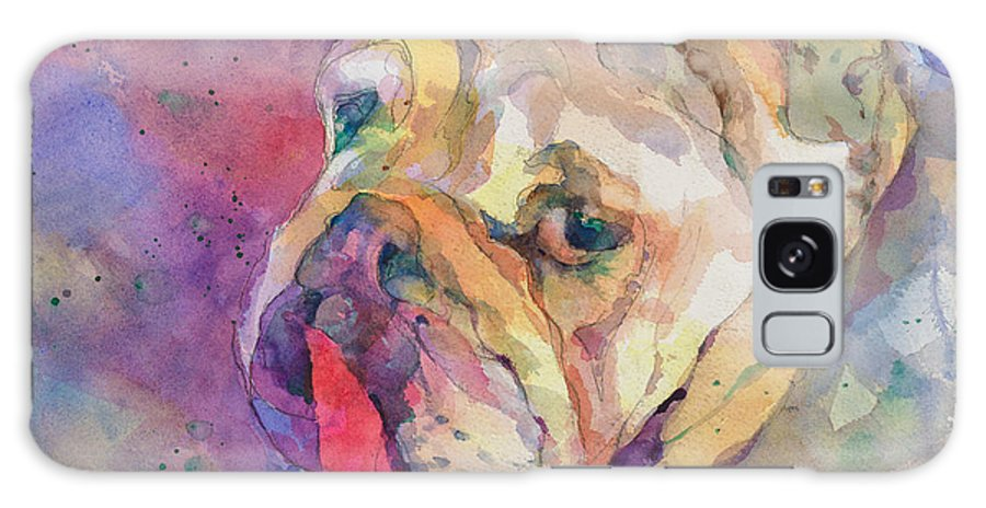 English Bulldog Galaxy S8 Case featuring the painting Dog-tired by Beverly Berwick