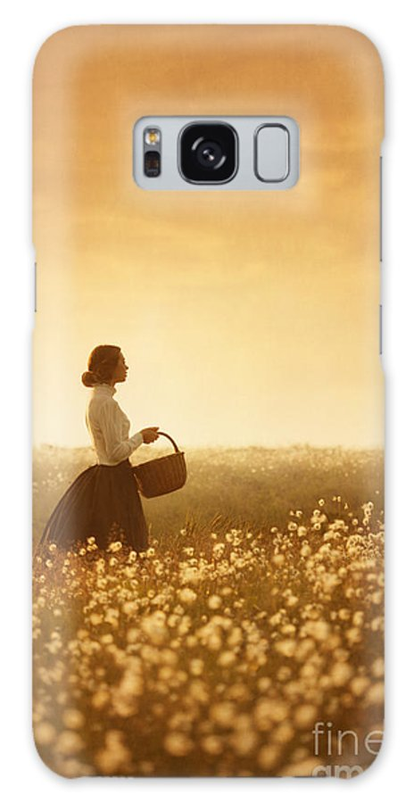 Edwardian Galaxy S8 Case featuring the photograph Edwardian Woman In A Meadow At Sunset by Lee Avison