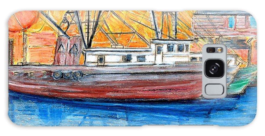 Fishing Galaxy Case featuring the drawing Fishing Trawler by Eric Schiabor
