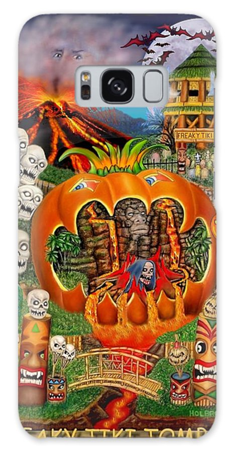 Halloween Art Galaxy S8 Case featuring the digital art Freaky Tiki Tombs by Glenn Holbrook