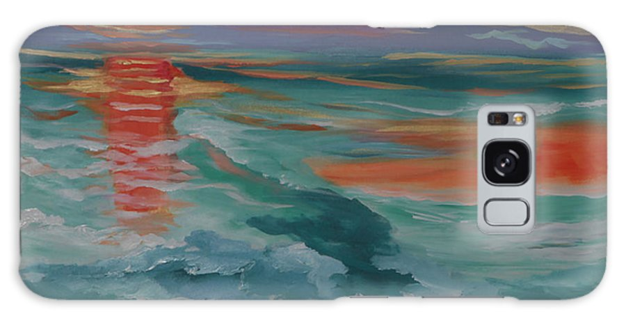 Abstract Seascape Galaxy S8 Case featuring the painting Genesis I by Sharon Worley