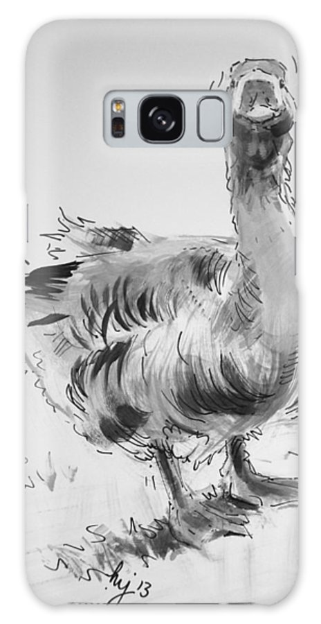Goose Galaxy S8 Case featuring the drawing Goose by Mike Jory
