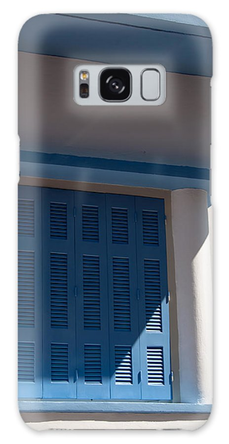 Blue Galaxy S8 Case featuring the photograph Greek Blue Window Shutters by Frank Gaertner