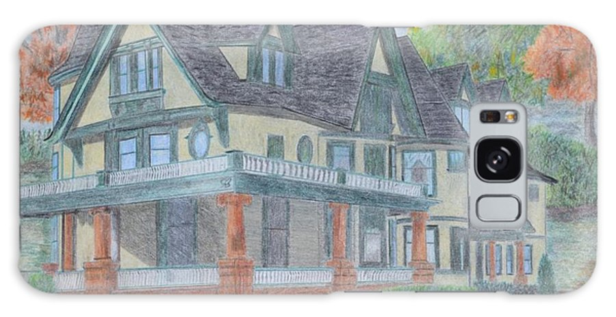 House Portrait- Fall Scene Galaxy S8 Case featuring the drawing House Portrait #1 by Dave Smith