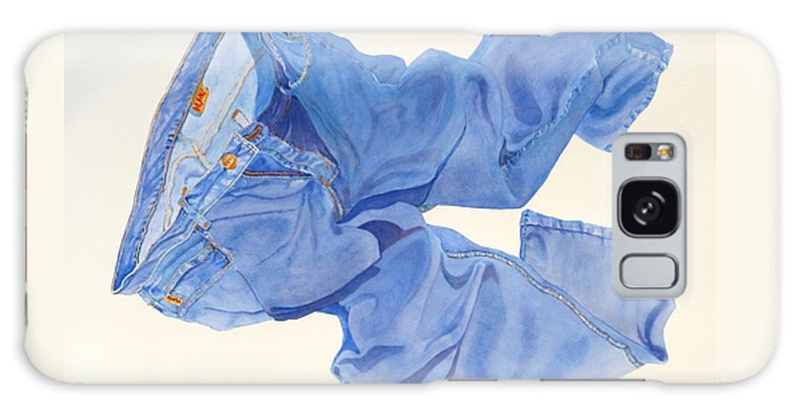 Blue Galaxy S8 Case featuring the painting Watercolor  I Love My Jeans by Mary Ellen Mueller Legault