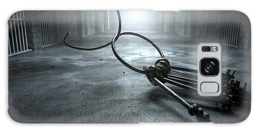 Jail Galaxy S8 Case featuring the digital art Jail Break Keys And Prison Cell by Allan Swart