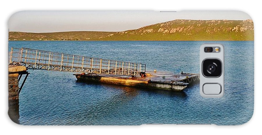 Langebaan Lagoon; Seascape; South Africa; West Coast; Atlantic Ocean; Blue; Background; Decorative; Hills; Water; Sea; Green; Sky; Sunrise; Landscape; Jetty; Galaxy S8 Case featuring the photograph Jetty.... by Werner Lehmann