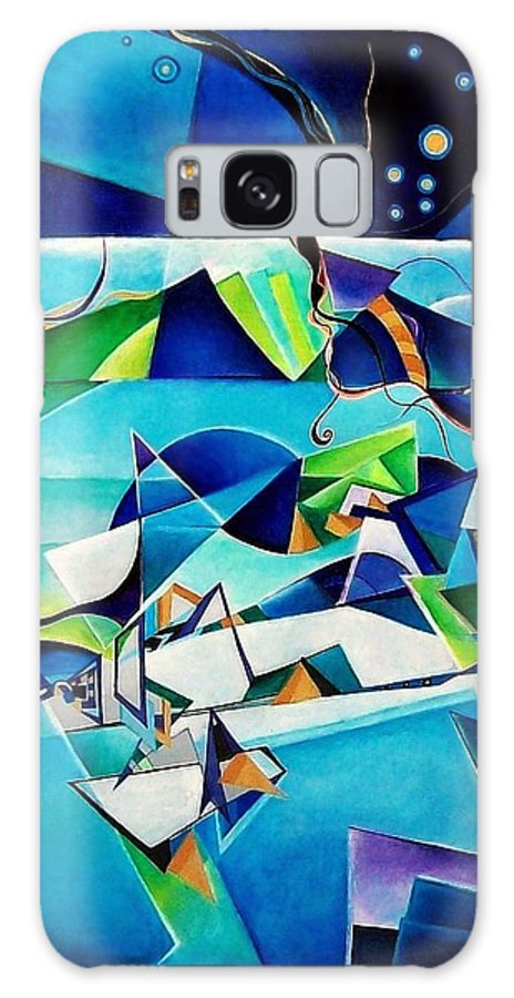 Landscpae Abstract Acrylic Wood Pens Galaxy S8 Case featuring the painting Landscape by Wolfgang Schweizer
