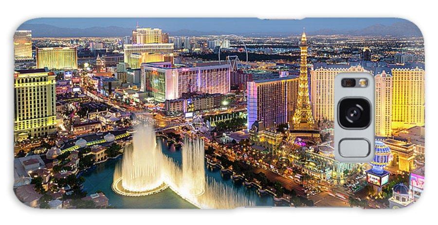 Las Vegas Replica Eiffel Tower Galaxy Case featuring the photograph Las Vegas Skyline At Dusk by Sylvain Sonnet