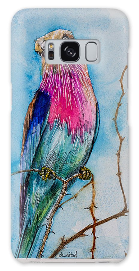 Lilac Breasted Roller Galaxy S8 Case featuring the painting Lilac-breasted Roller by Dave Whited