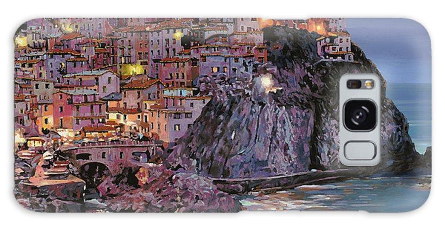 Manarola Galaxy S8 Case featuring the painting Manarola At Dusk by Guido Borelli