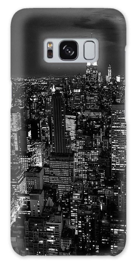 Outdoors Galaxy Case featuring the photograph Manhattan Skyline At Night, New York by Mike Hill