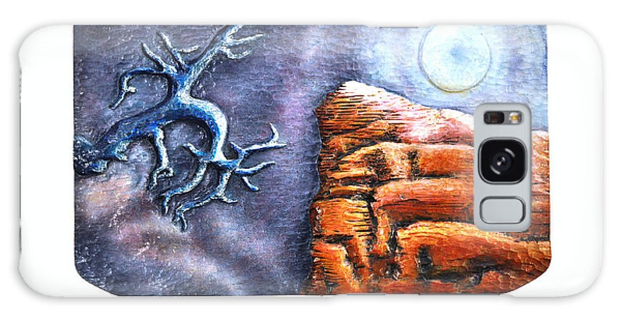 Relief Galaxy S8 Case featuring the painting Moon Over Jemez by ArSpirare by Antonius