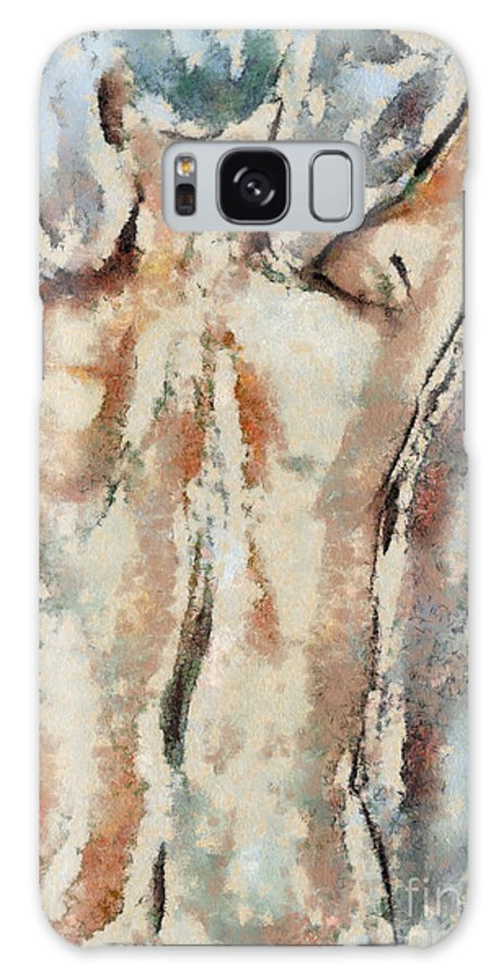 Aquarelle Galaxy S8 Case featuring the mixed media Nude Figure by Michal Boubin