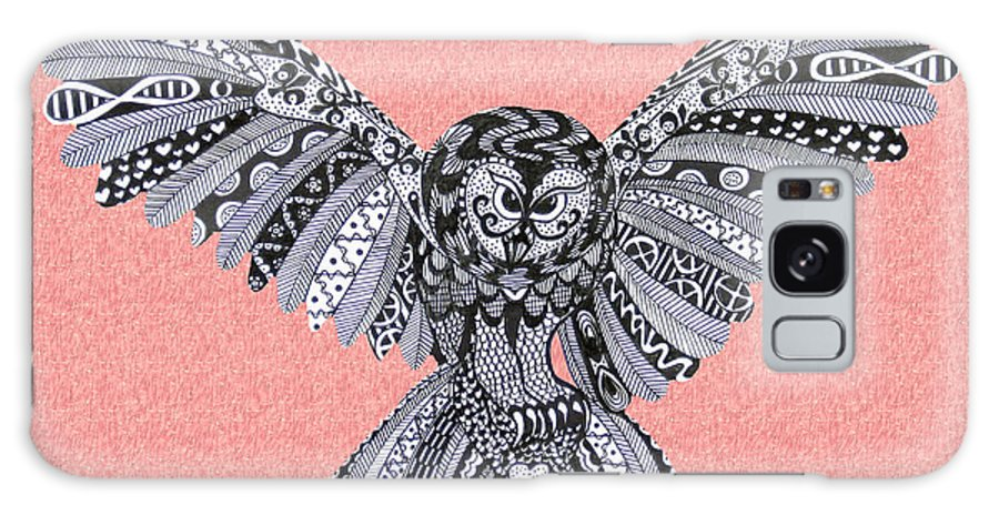 Edinburgh Festival Galaxy S8 Case featuring the drawing Owl In Flight Pink by Karen Larter