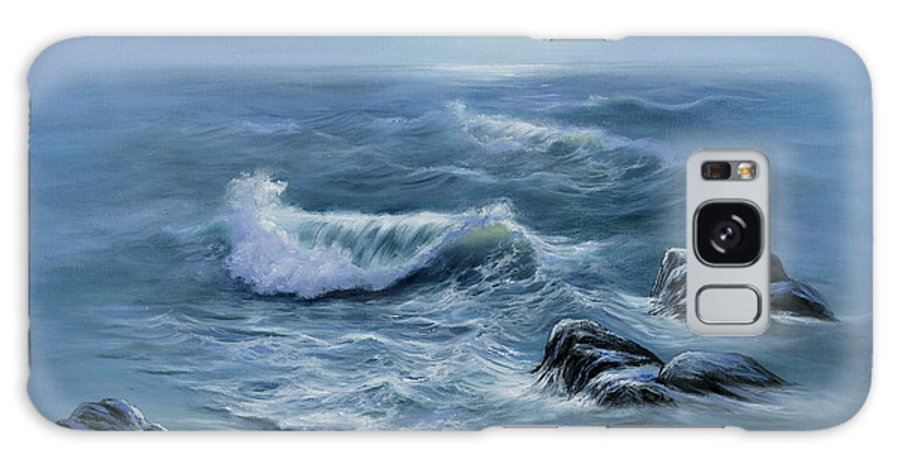 Blue Seascape Galaxy S8 Case featuring the painting Peaceful Place by Sharon Abbott-Furze