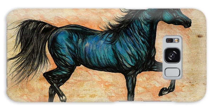 Horse Galaxy S8 Case featuring the painting Psychedelic Blue by Angel Ciesniarska