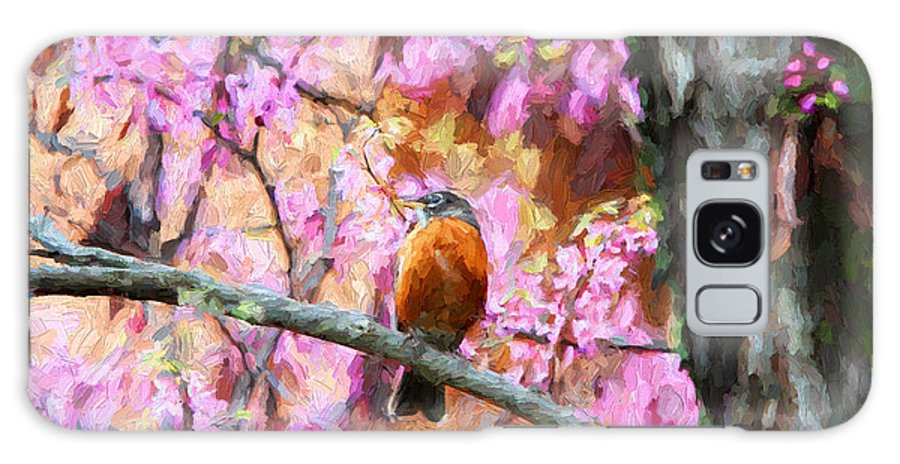 Birds Galaxy S8 Case featuring the photograph Robin In A Red Bud Tree by John Freidenberg