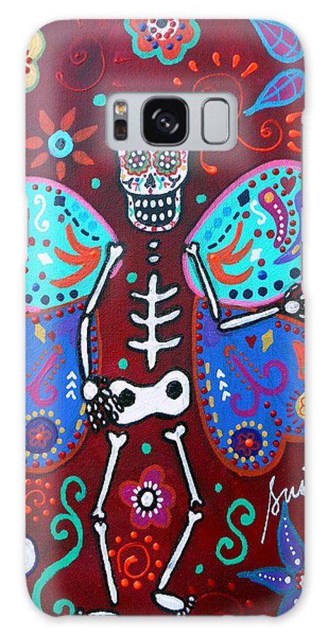 Butterfly Galaxy S8 Case featuring the painting Skellyfly Day Of The Dead by Pristine Cartera Turkus