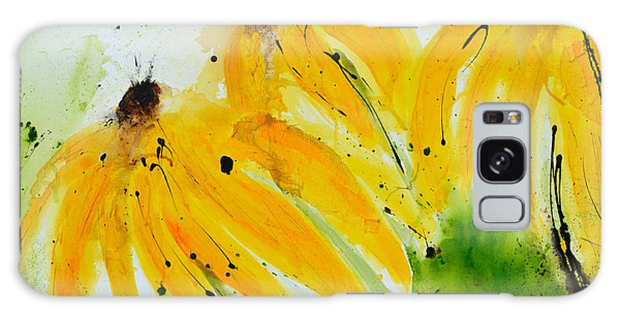 Abstract Art Galaxy S8 Case featuring the painting Sonnenhut - Floral Painting by Ismeta Gruenwald