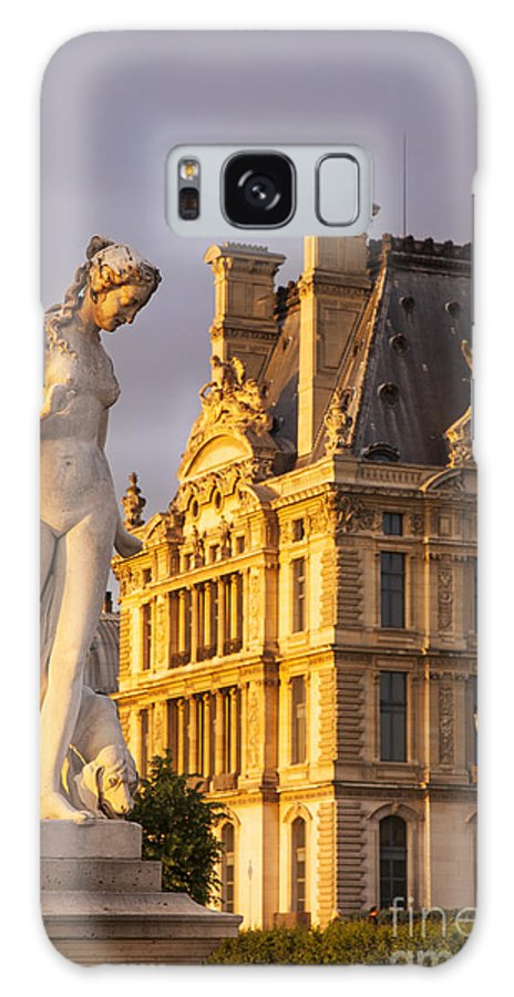 Architecture Galaxy S8 Case featuring the photograph Statue Below Musee Du Louvre by Brian Jannsen