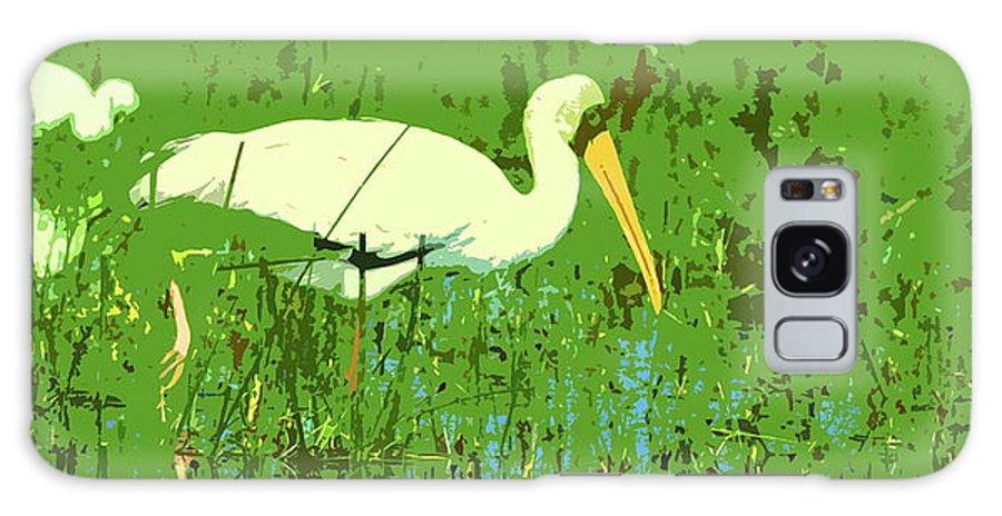 Yellow-billed Stork Galaxy S8 Case featuring the digital art Storks by Ronald Jansen