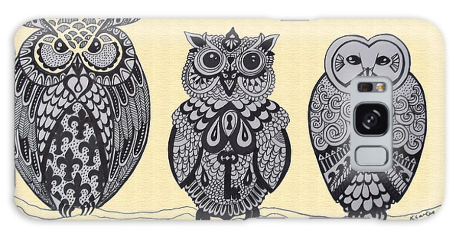 Owls Galaxy S8 Case featuring the drawing Three Owls On A Branch by Karen Larter