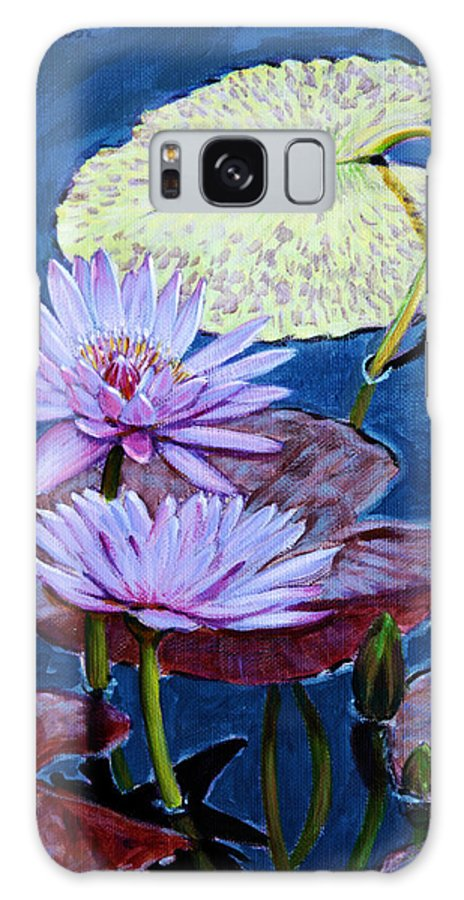 Water Lilies Galaxy S8 Case featuring the painting Two Purple Lilies by John Lautermilch