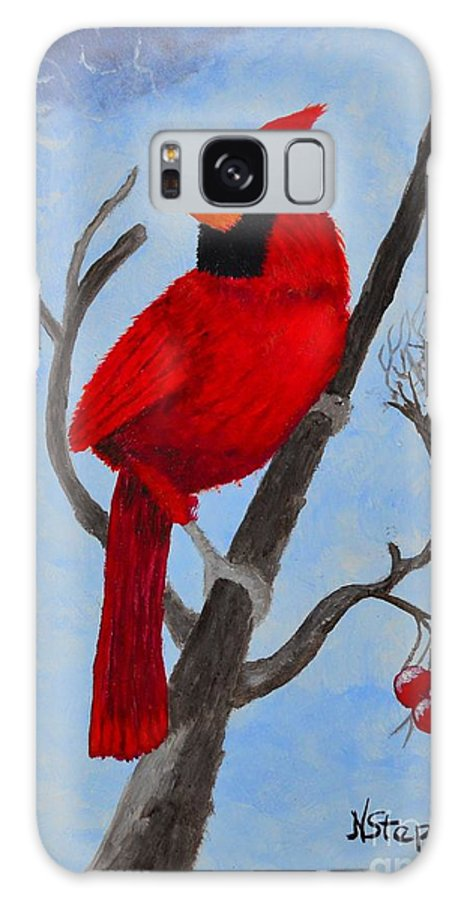 Red Bird Galaxy S8 Case featuring the painting Watchful Eyes by Nina Stephens