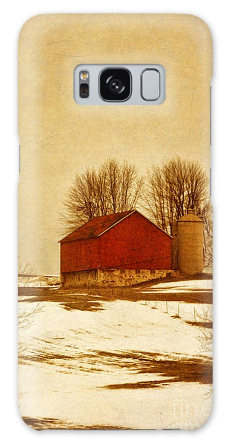 Red Galaxy S8 Case featuring the photograph Wisconsin Barn In Winter by Jill Battaglia