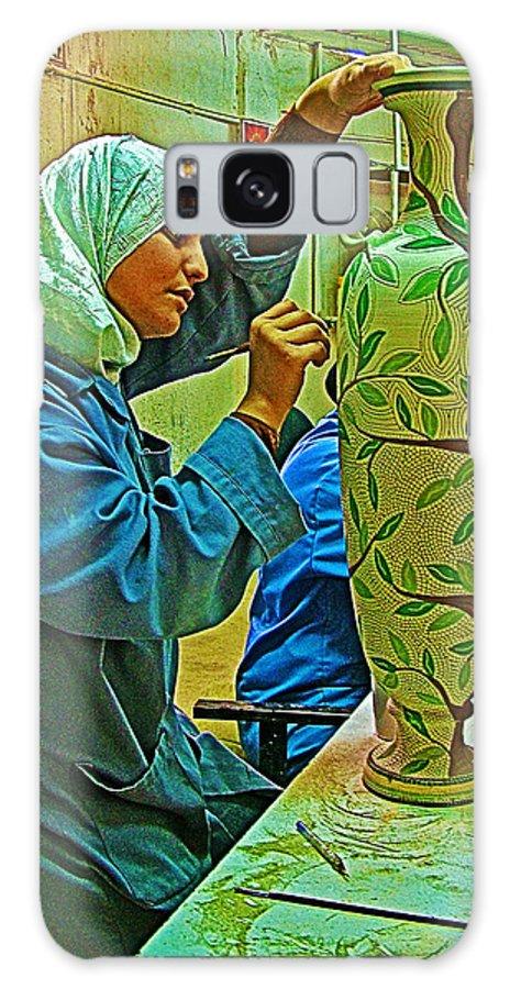 Woman Artisan At Mosaic School In Madaba Galaxy S8 Case featuring the photograph Woman Artisan At Mosaic School In Madaba In Jordan by Ruth Hager