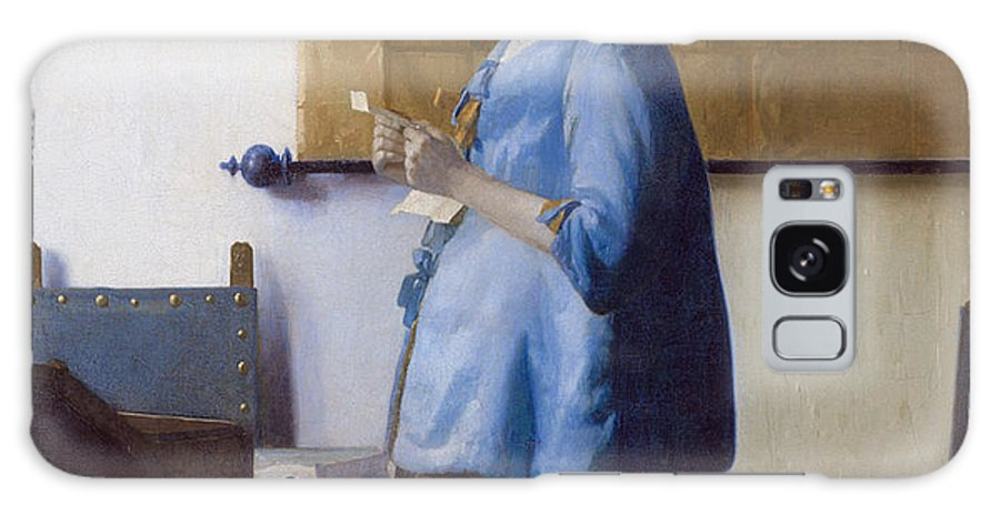Dutch Golden Age Galaxy S8 Case featuring the painting Woman In Blue Reading A Letter by Johannes Vermeer