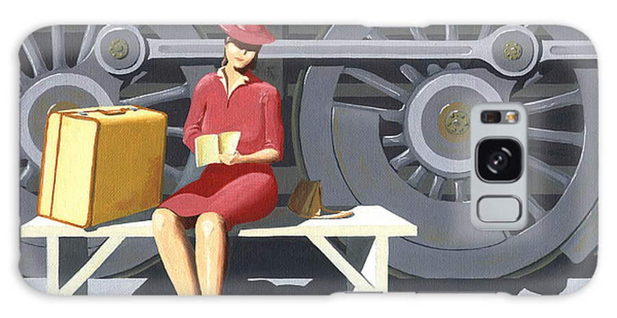 Woman Galaxy S8 Case featuring the painting Woman With Locomotive by Gary Giacomelli