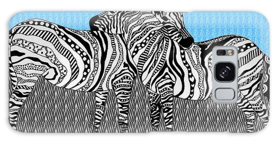 Zebra Galaxy S8 Case featuring the drawing Zebra Love 19 by Karen Larter