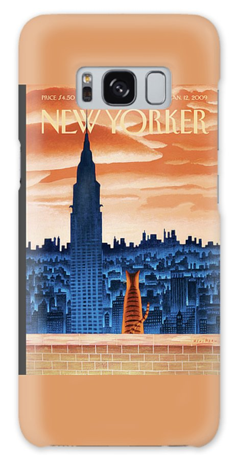 Nyc Galaxy Case featuring the painting New Yorker January 12th, 2009 by Mark Ulriksen