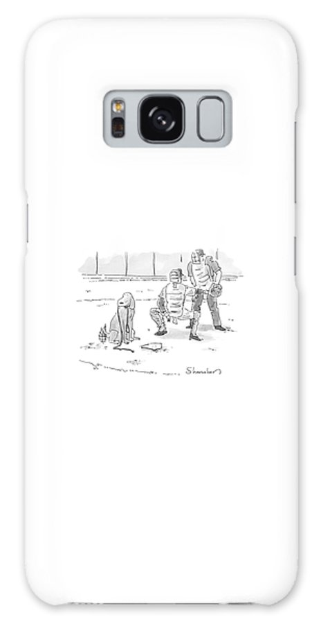 Sports Pets Dogs Baseball Homeplate Walk Galaxy S8 Case featuring the drawing New Yorker October 10th, 2005 by Danny Shanahan