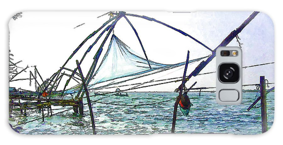 Action Galaxy S8 Case featuring the digital art Fishing Nets On The Sea Coast In Alleppey by Ashish Agarwal